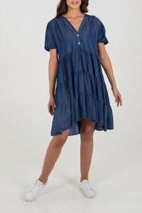 New Ladies Women Short Sleeve Tiered Smock Panel Denim Dress Sizes 8-16