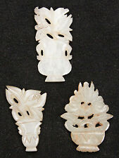 3 Antique Chinese Qing Carved Jade Clothes Ornaments Flower Pot Old Flowers