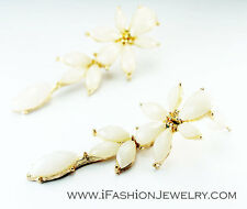 Gold Peach Long Flower Earrings 3D White Floral Stud Drop Dangle Fashion Jewelry