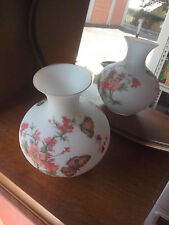 Antique Handpainted 25cm Urn Shape Milk Glass Vase