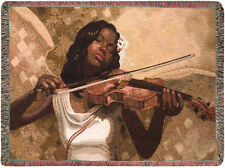 Melody From Heaven ~ African American Woman Violinist Tapestry Afghan Throw