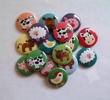 "20 Farm Animal 1"" flat back Buttons."