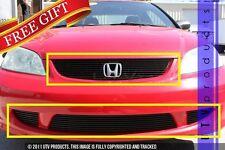 Gtg 2004 2005 Honda Civic 2dr 4pc Gloss Black Overlay Combo Billet Grille Kit Fits 2004 Honda Civic