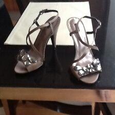 Mango Beige Satin Evening Shoes With Gem Detail Size 37