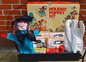Vtg 1970 Singer Halloween witch ghost Puppet Set WKU Western Kentucky University