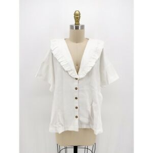 Free People Womens Button Front Shirt White Short Sleeve Ruffle V Neck S New