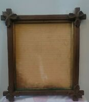 Antique Adirondack Carved Leaves And Gold Border Picture Frame 10 X 8