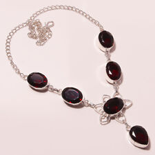 """A++++Quality ! Faceted Garnet Quartz Silver Plated Handmade Necklace 17""""18"""""""