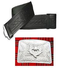 véritable cuir celtique ciselé Ceinture Kilt écossais & Chardon BOUCLE CHROME