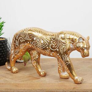 Large Exotic Gold Coloured Jaguar Figurine, Wild Cat Ornament, Perfect Present