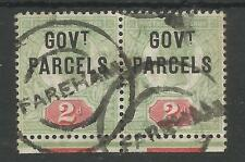 SG070 THE 1891 QV GOVT P 2d GREY GREEN&CARMINE IN A USED MARGINAL PAIR CAT £100+