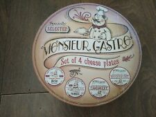 More details for retro vintage-style monsieur gastro set of 4x cheese plates boxed vgc