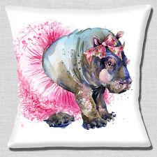"Cute Girl Hippo 16""x16"" 40cm Cushion Cover Artistic Design Hippo with Pink Tutu"