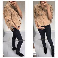 Genuine Suede Fringe Boho Style Jacket Sz M