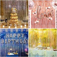 Metallic Foil Fringe Curtain Tinsel Photo Backdrop Party Birthday Decor 3.2*9.8F