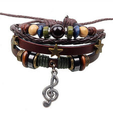 Leather & Beads Music Treble Clef Surfer Wristband Friendship Bracelet FREEPOST