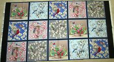 "1 Colorful ""Birds of a Feather"" Cotton Quilting Sewing Fabric Panel"