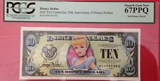 2007D $10 Cinderella Disney Dollar,  Graded Superb Gem New 67PPQ, D00041983