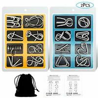 YGZN Metal Wire Puzzle Set of 16 with Pouch,IQ Test Mind Game Brain Teaser Magic