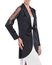 La Perla Studio Collection L Satin Tie Front Short Lounge Robe Black New