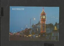 Salmon  Postcard Clock Tower and Esplanade at Night Weymouth Dorset unposted