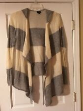 ANNA SUI Size Small Cream Gray Striped Open Hooded Sweater Cardigan Wrap