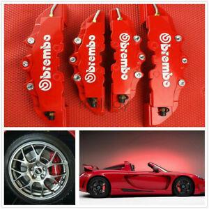4 Pcs Red 3D Style Brake Caliper Covers Universal Car Disc Front & Rear Kits