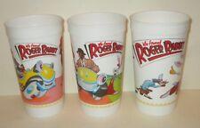 DISNEY AMBLIN WHO FRAMED ROGER RABBIT McDONALD'S PLASTIC CUPS SET/3 1988