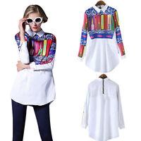 NUOVO stampa floreale da donna t shirt Maglia Manica Lunga Camicia casual