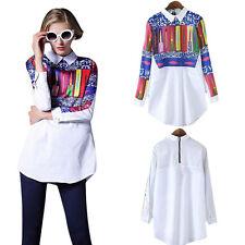 US Floral Print Women Girls T Shirt Blouse Long Sleeve Women Tops Casual Shirt S