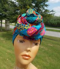 Teal And Orange Headwrap;African Headwrap; African Clothing; African Fabric