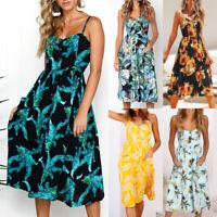 Womens Jumper Ladies Spotted Holiday Beach Button Summer Tropical Midi Sun Dress