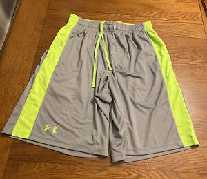 Under Armour Micro Printed Shorts Sz Mens M EUC Gray Neon Green