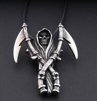 MENDEL Stainless Steel Death Skeleton Skull Grim Reaper Pendant Necklace Gothic