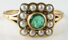 DAINTY 9K 9CT YELLOW GOLD  EMERALD & PEARL ART DECO INS RING FREE RESIZE