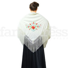 NEW Spanish Floral Flamenco Dance Shawl Beautiful Traditional Embroidered Manton