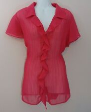 WOMENS FASHION BUG SIZE 0X PINK SHORT SLEEVE COLLARED BLOUSE TOP