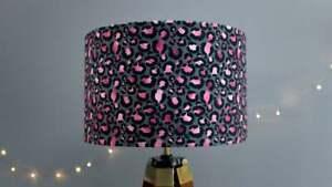 Black and Pink Leopard Print Velvet Lampshade Drum Lamp Shade 30cm 40cm ceiling