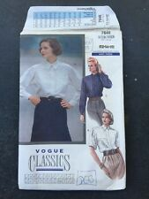 VOGUE Patterns VINTAGE 7646 Vogue CLASSICS Blouse / SHIRT Size (12-14-16) UNCUT