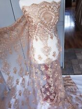 """1M DUSKY PINK /GOLD  EMBROIDED DIAMOND STUDS  BRIDAL LACE NET FABRIC..58"""" WIDE"""