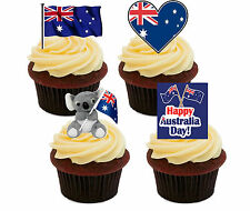 Australia Day Edible Cup Cake Toppers, Stand-up Fairy Bun Decorations, Flag