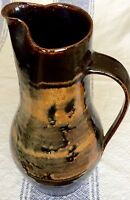 BEAUTIFUL VINTAGE HAND MADE SIGNED CRUTCHFIELD POTTERY PITCHER MID CENTURY ART