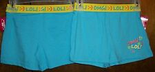 Girls Shorts sz 10-12 EXTREMELY ME! Blue w/Yellow Turn Down Waist& OMG! LOL! NWT