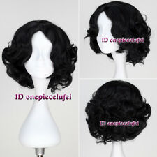Snow White 25cm Short black Curly Synthetic Cosplay Anime Wig 171A+a wig cap