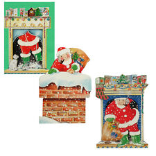 75 Father Christmas in Chimney on Petite Die-cut Gift Card XG0009