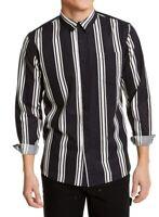 Sun + Stone Mens Shirt Black White Large L L/S Striped Woven Button Down $45 291