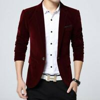 Chic Men Coats One Button Slim Fit Solid Lapel Solid Casual Korean Blazer Jacket