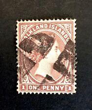 "Falkland Islands 1891 1d Red Brown + rare 1892 Cancel ""First Windmill"" See Descr"