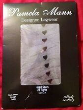 Pamela Mann Italy Designer Tights Heart Back Seam Black 2X