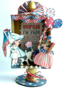 July 4th Memorial Day altered art box Vintage Proud to be American reproduction